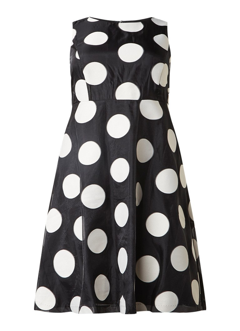 Studio 8 Iris A-lijn jurk met stippendessin zwart