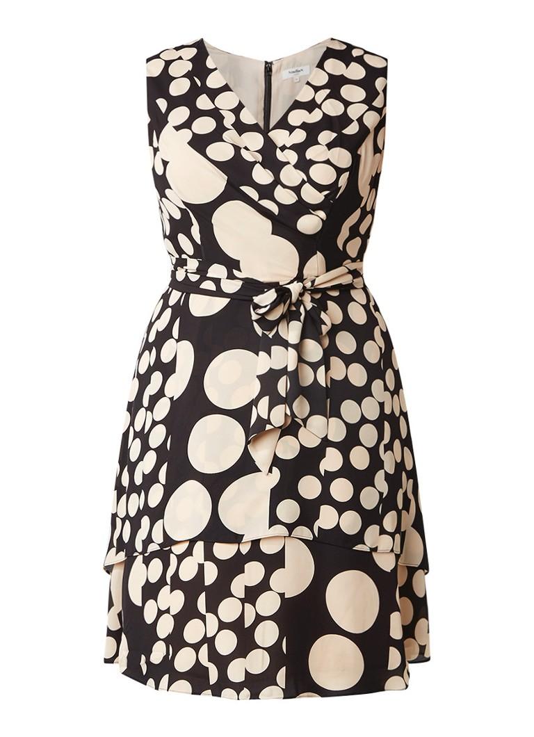 Studio 8 Alissa A-lijn jurk met stippendessin en ceintuur zwart