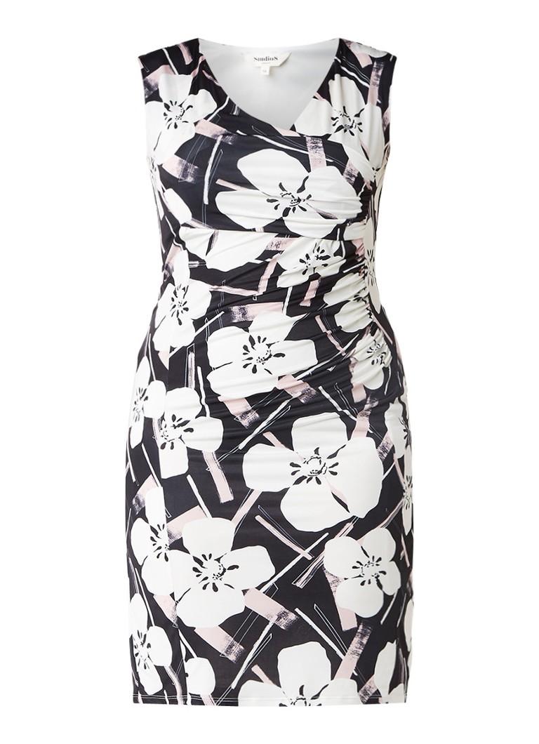 Studio 8 Annika jurk met overslagdetail en bloemendessin zwart