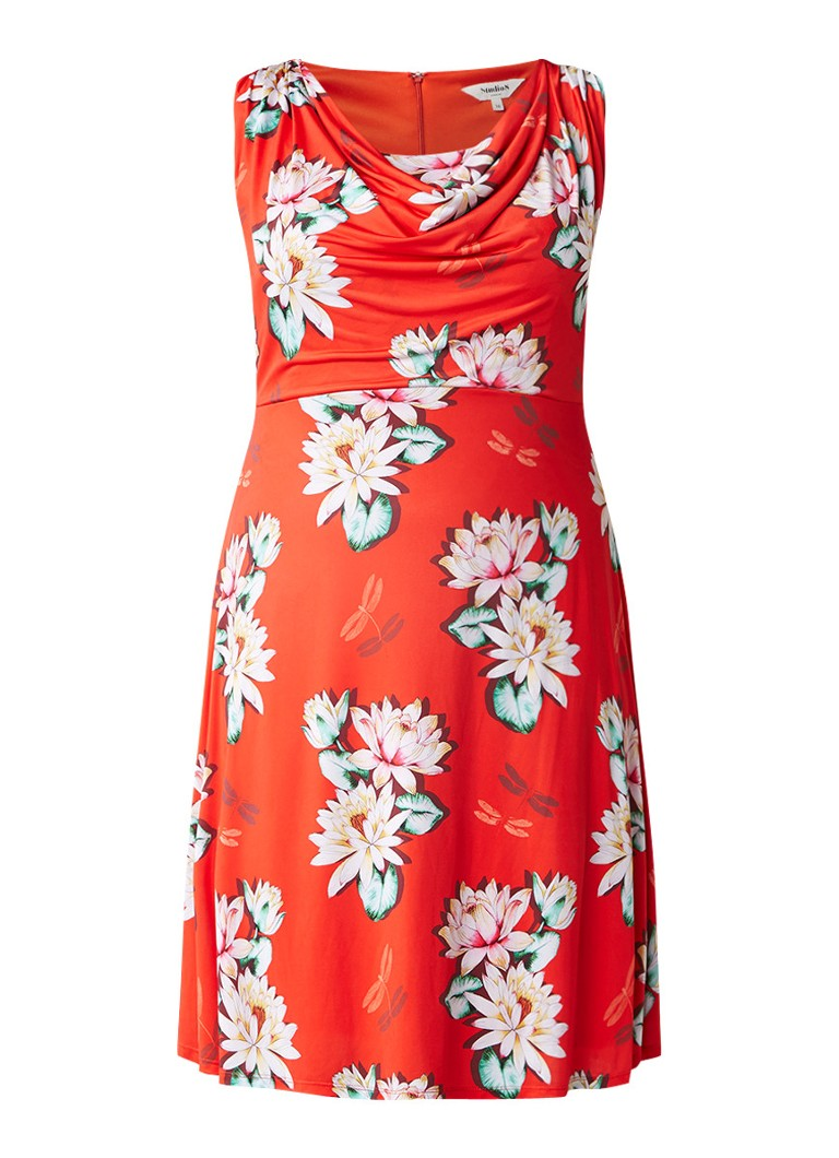 Studio 8 Saskia jurk met watervalhals en bloemendessin rood