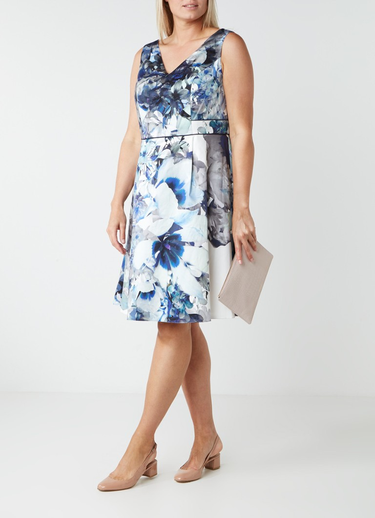 Studio 8 Antonia gebloemde A-lijn jurk blauwgrijs