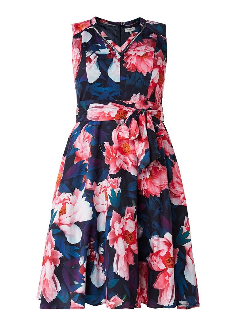 Studio 8 Everly gebloemde A-lijn jurk met strikceintuur multicolor