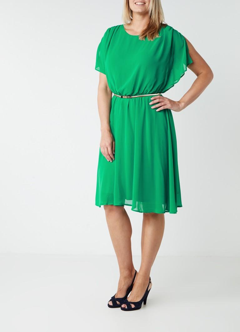 Studio 8 Elaine chiffon jurk met goudkleurig metallic ceintuur groen