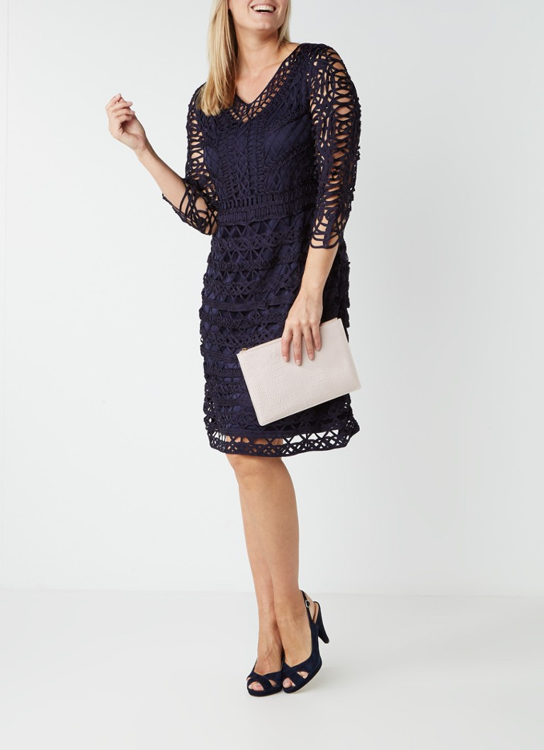 Studio 8 Beryl midi-jurk met tapework en onderjurk donkerblauw