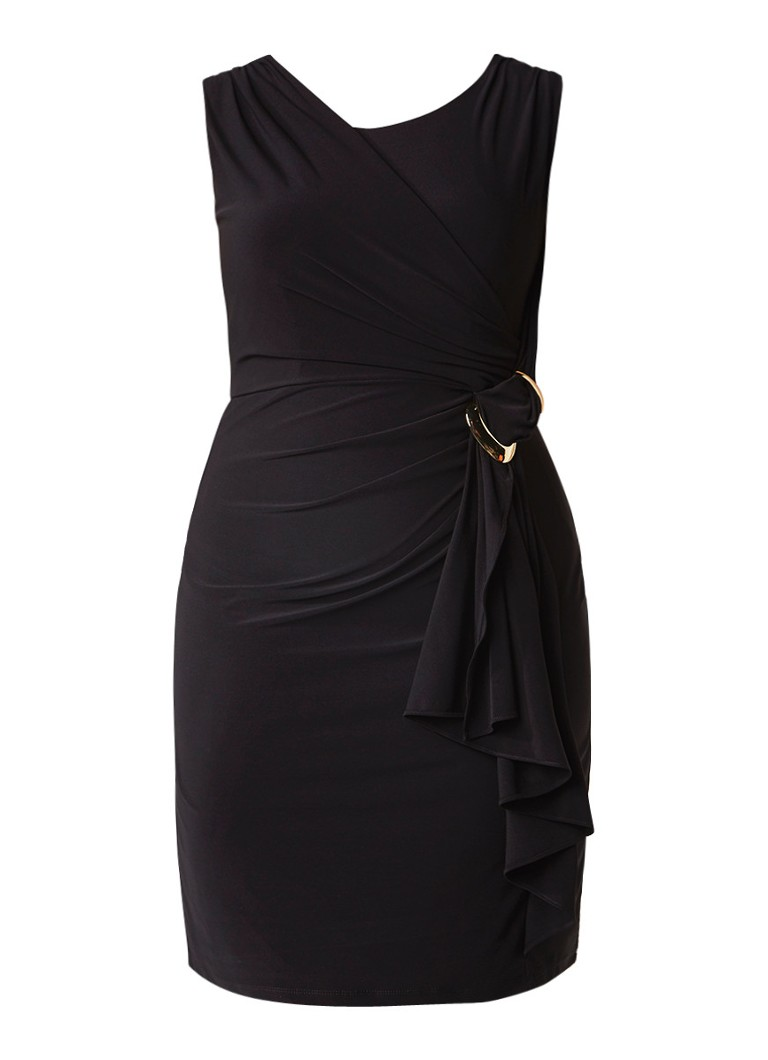 Studio 8 Arabella jurk met draperie en gesp zwart