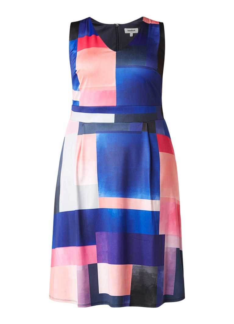 Studio 8 Elodie A-lijn jurk met grafisch dessin multicolor