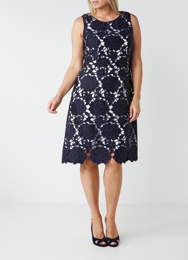 Studio 8 Melody A-lijn jurk van gebloemd guipure kant donkerblauw