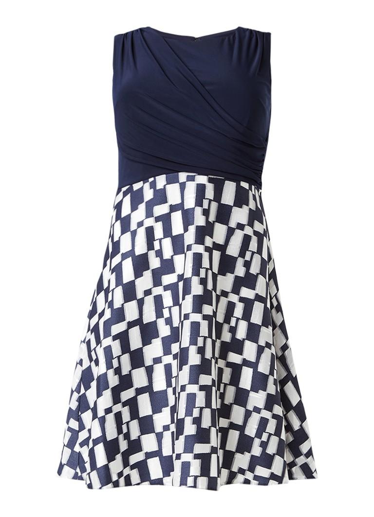 Studio 8 Edyn A-lijn jurk met print op rok donkerblauw