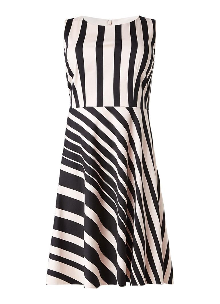 Studio 8 Joanne A-lijn jurk met streepdessin zwart