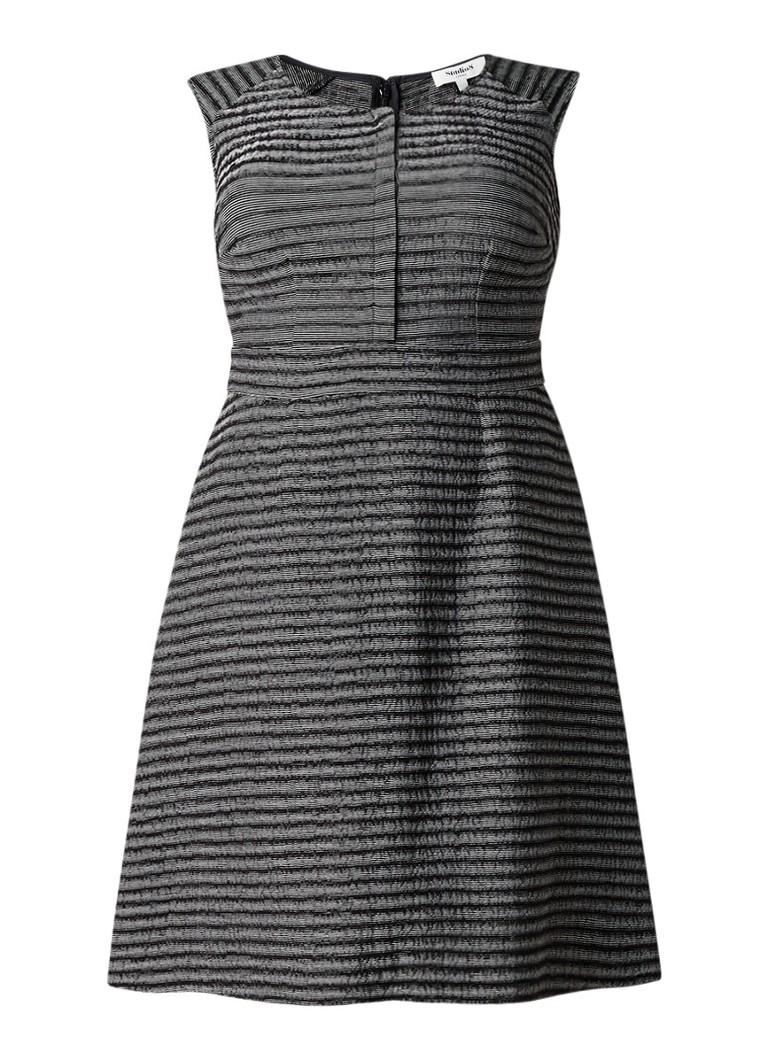 Studio 8 Ally A-lijn jurk met ingeweven streepdessin zwart