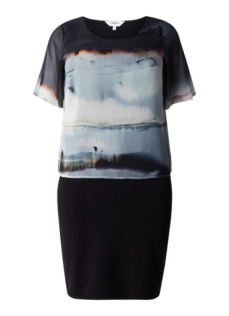 Studio 8 Stevie jersey jurk met semi-transparante overlay zwart