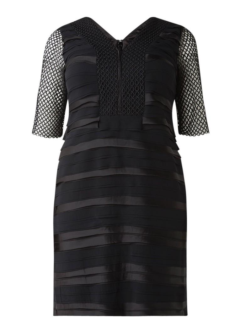 Studio 8 Mindy jurk met strokenstructuur en opengewerkte mouw zwart