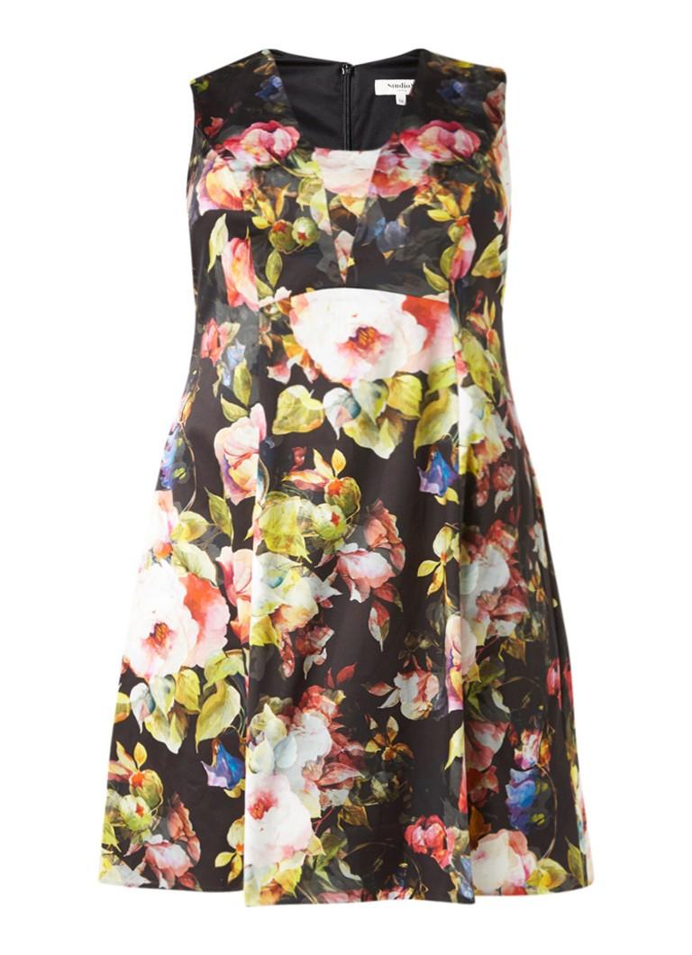 Studio 8 Amara A-lijn jurk met bloemendessin zwart