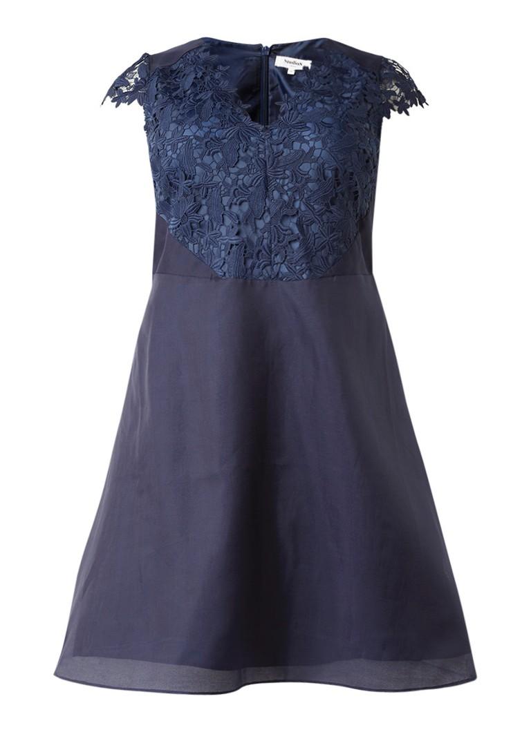 Studio 8 Eliza A-lijn jurk met guipure kant en kapmouw donkerblauw