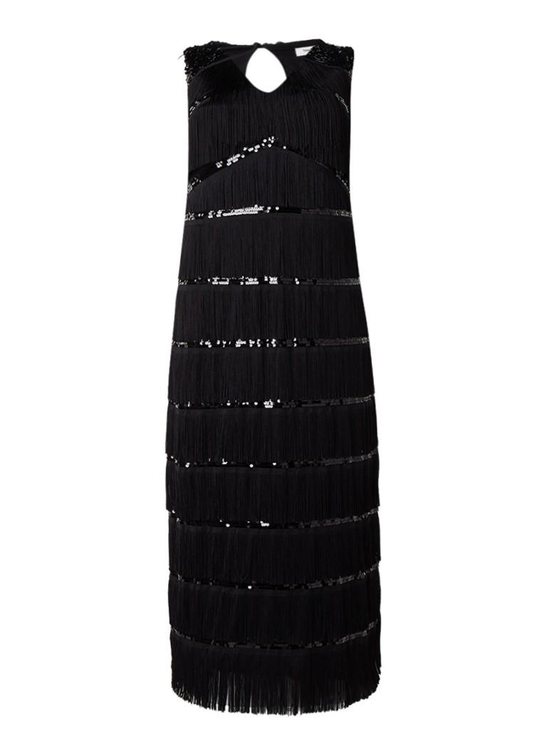 Studio 8 Estrella mouwloze maxi-jurk met pailetten en franjes zwart