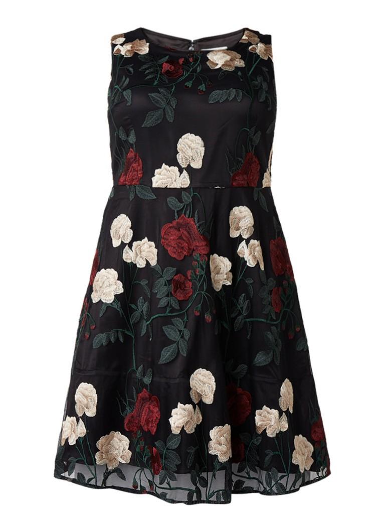 Studio 8 Lizzy A-lijn jurk met petticoat en bloemenborduring zwart