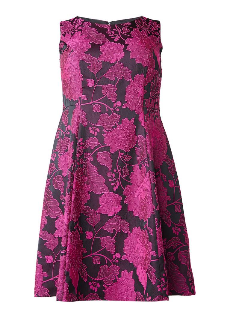 Studio 8 Liberty A-lijn jurk met jacquard bloemendessin fuchsia