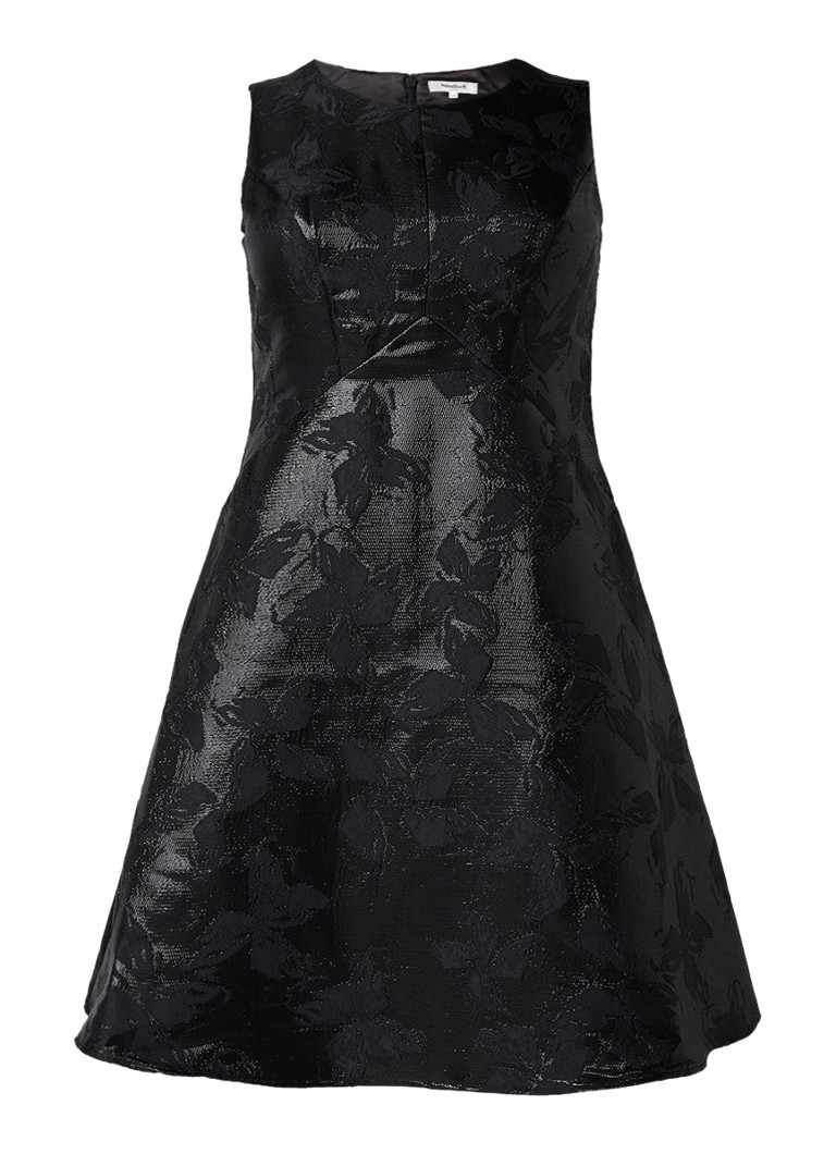 Studio 8 Elektra A-lijn jurk met lurex en cut-out detail zwart