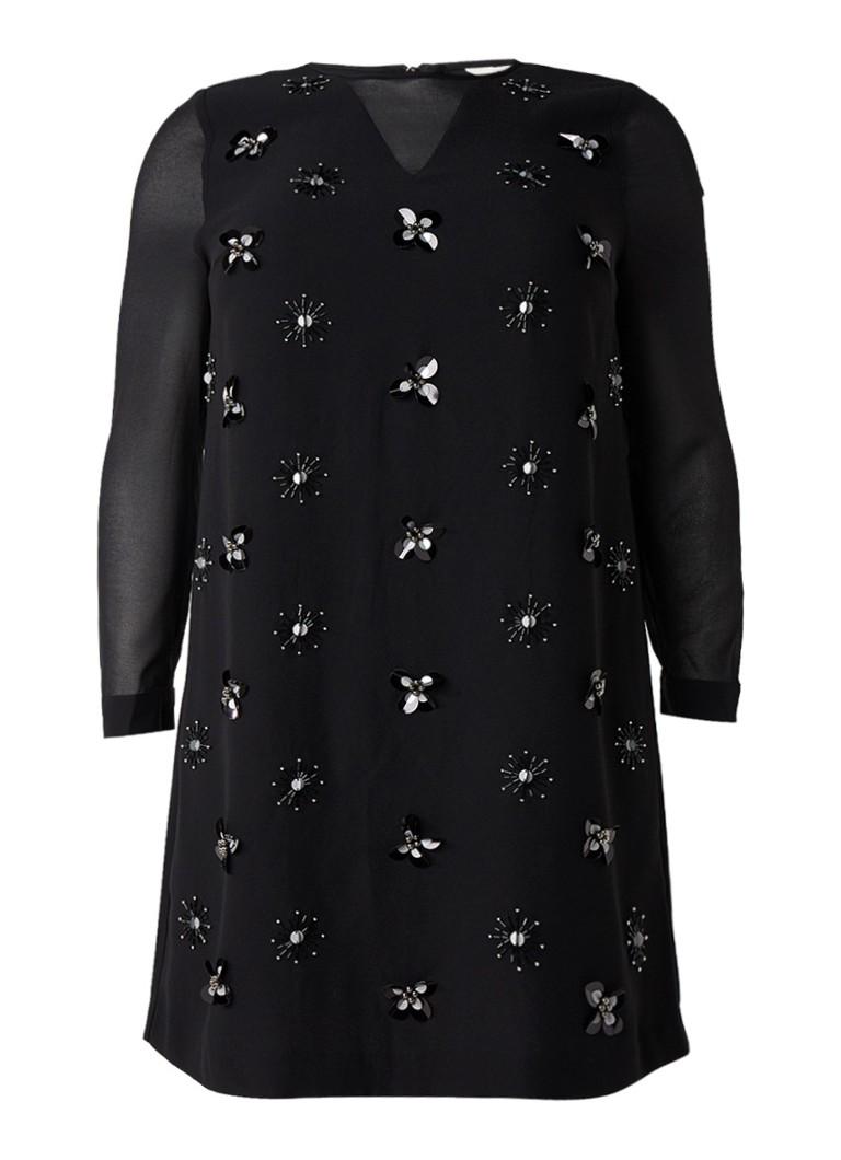 Studio 8 Claire midi-jurk met paillettenapplicaties zwart