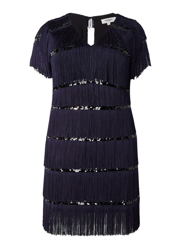 Studio 8 Holly jurk met franjes en pailletten donkerblauw