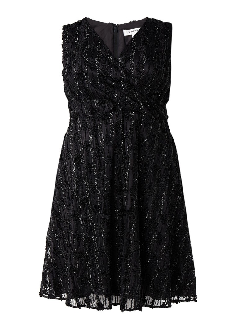 Studio 8 Sirene A-lijn jurk met structuur en lurex zwart