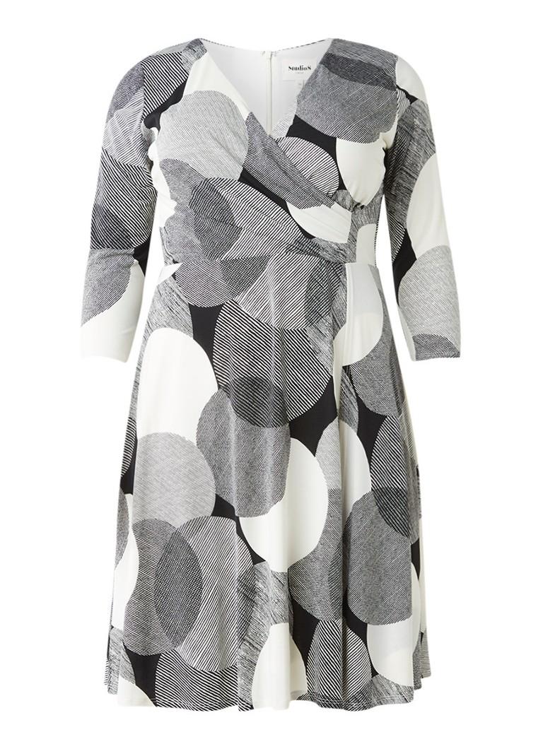 Studio 8 Kimara A-lijn jurk met overslag en streepdessin ivoor