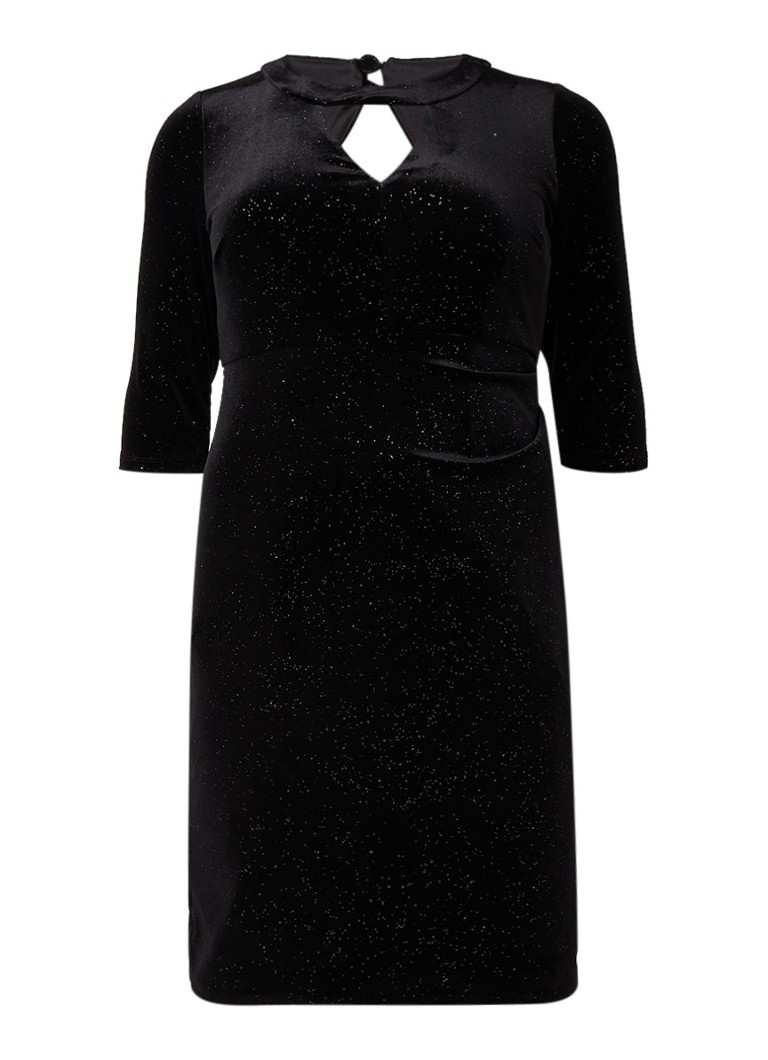 Studio 8 Natasha midi-jurk van fluweel met cut-out details zwart