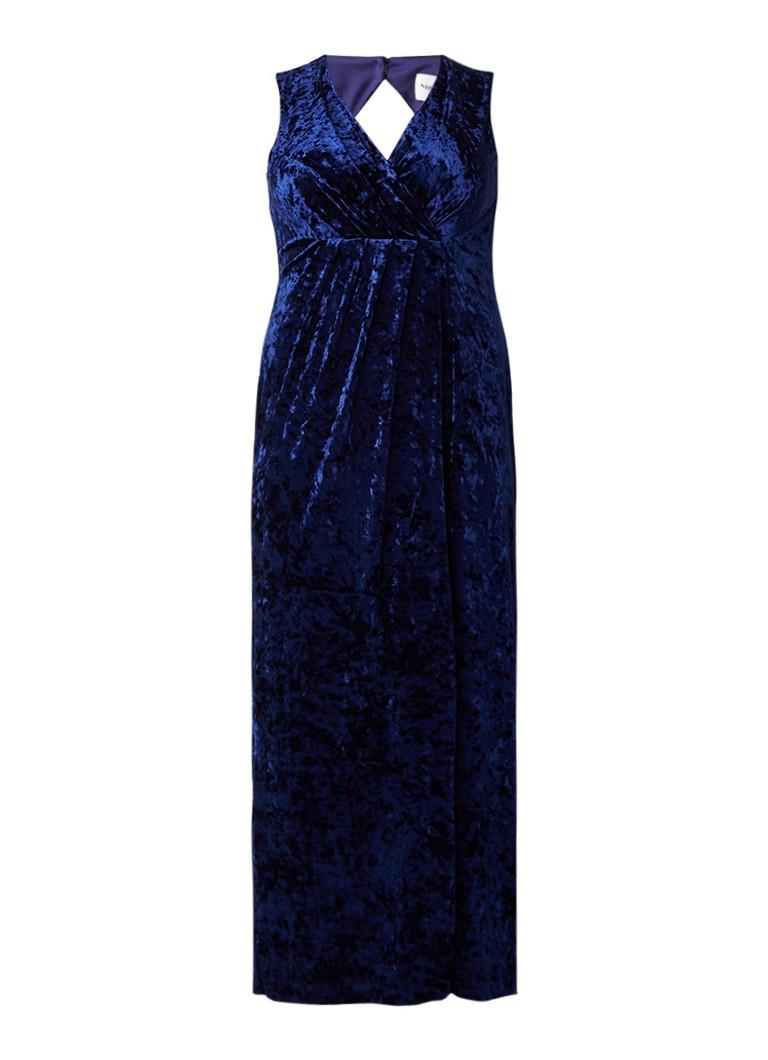 Studio 8 Katie galajurk van fluweel met plooien donkerblauw