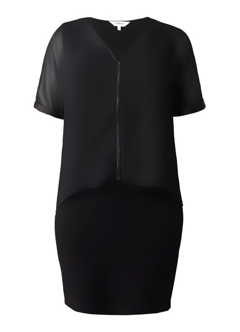 Studio 8 Daphne fijngebreide midi-jurk met overlay van chiffon zwart