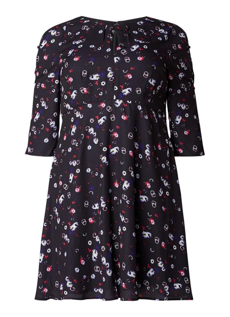 Studio 8 Emmy A-lijn jurk met mouwspleet en bloemendessin zwart
