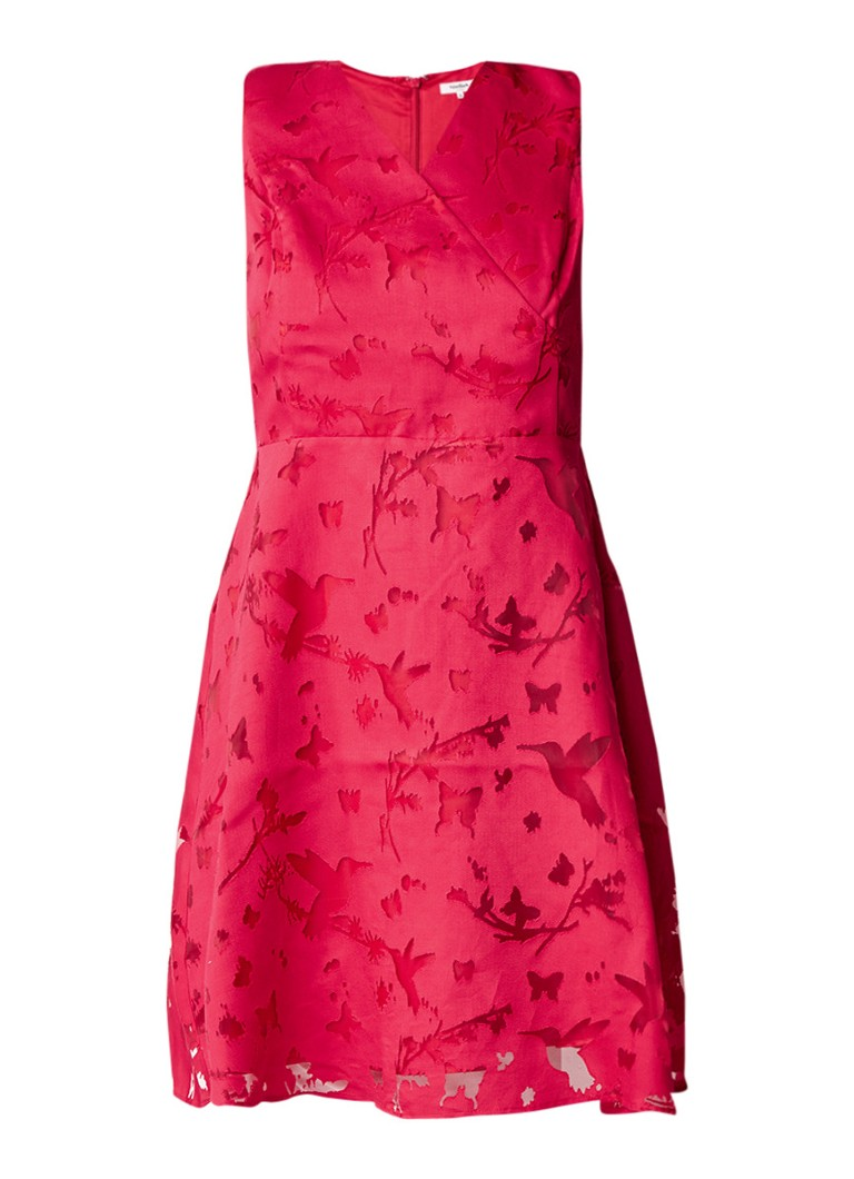 Studio 8 Julia A-lijn jurk met ingeweven dessin rood