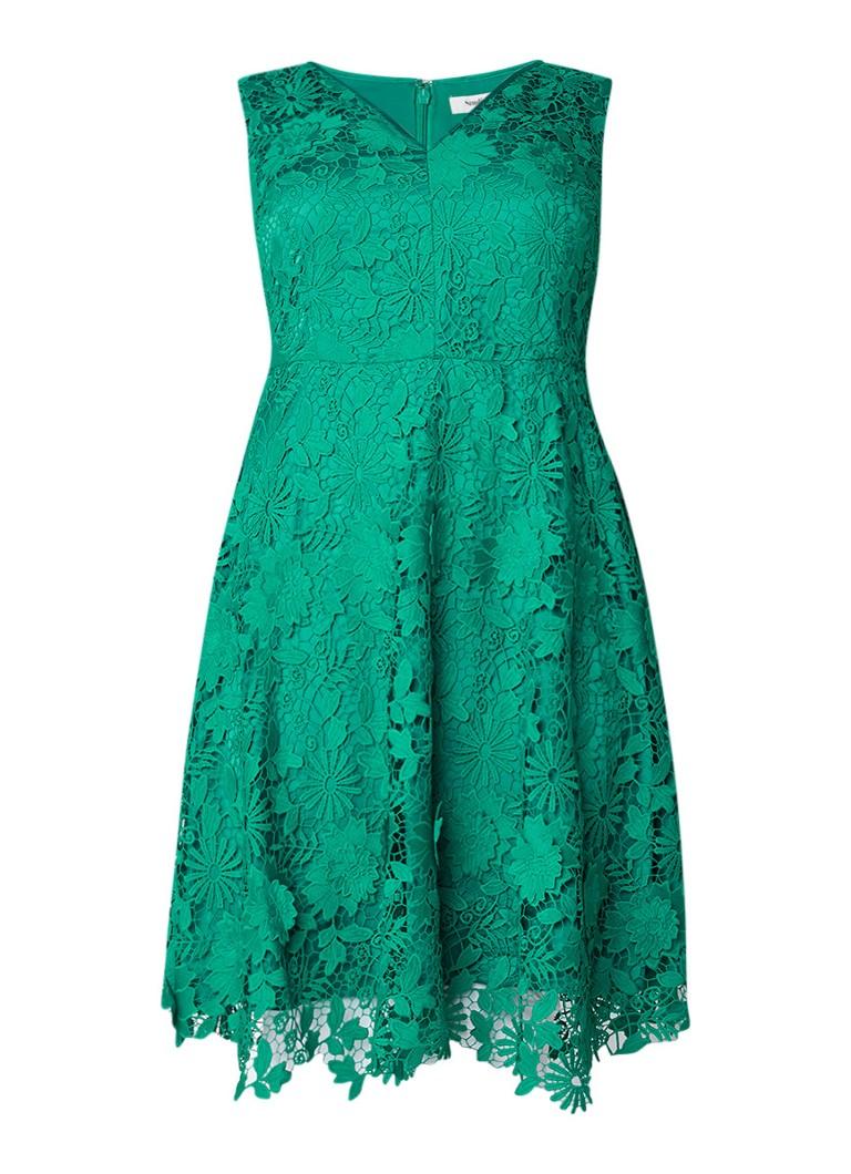 Studio 8 Isabella A-lijn jurk van guipure kant zeegroen