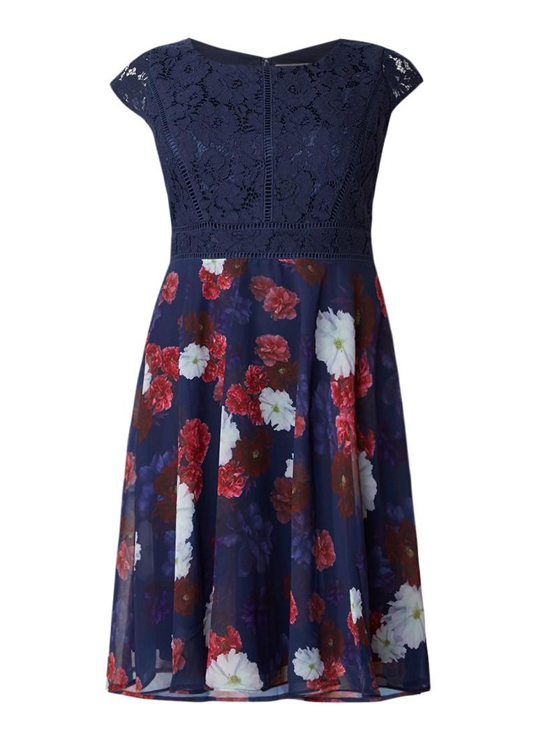 Studio 8 Nicole A-lijn jurk met kant en bloemendessin donkerblauw