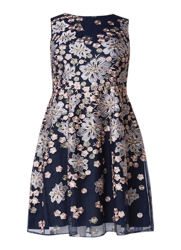 Studio 8 Charlotte A-lijn jurk met bloemborduring donkerblauw