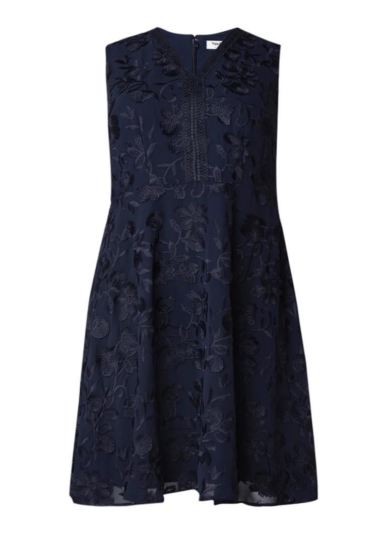 Studio 8 Flora A-lijn jurk met jacquard dessin donkerblauw