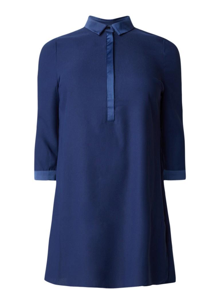 Studio 8 Emily blousejurk van crêpe met contrasterende boord blauw