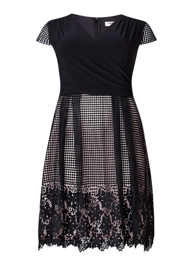 Studio 8 Romola gedrapeerde A-lijn jurk met kant zwart