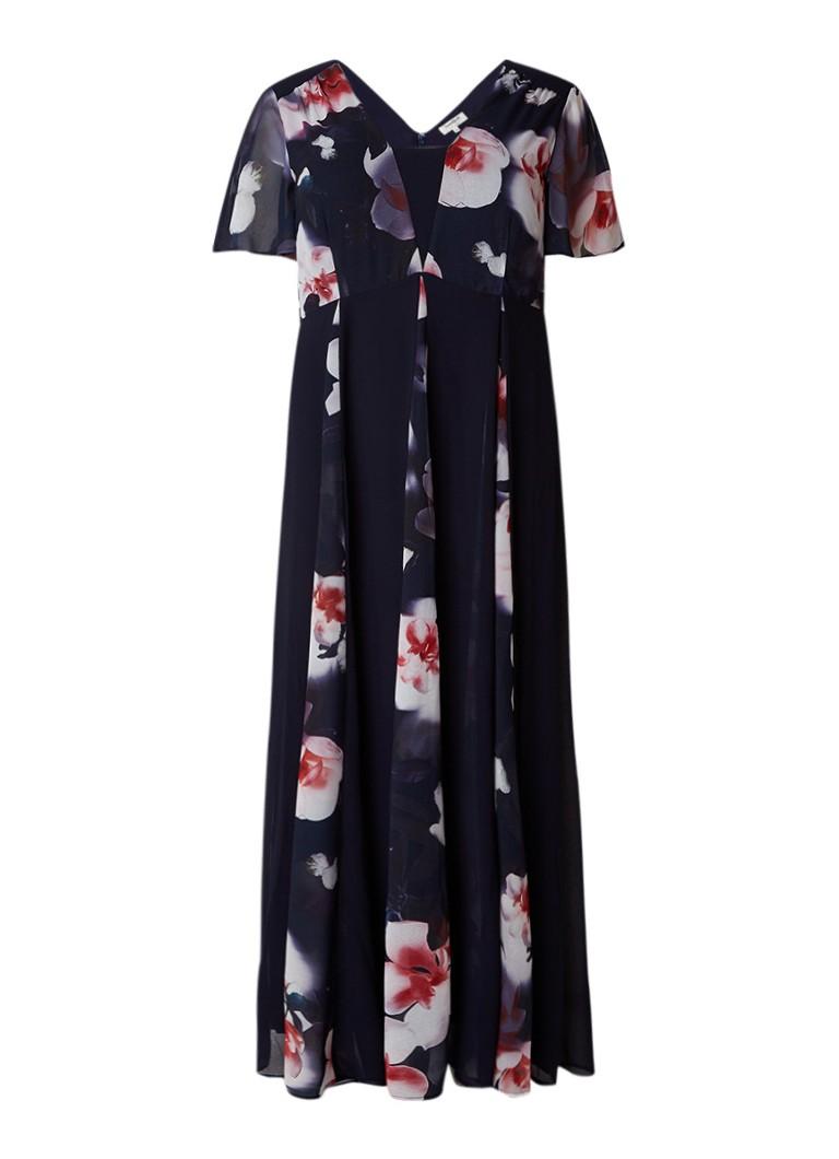 Studio 8 Penelope maxi-jurk met volantmouw en bloemendessin donkerblauw