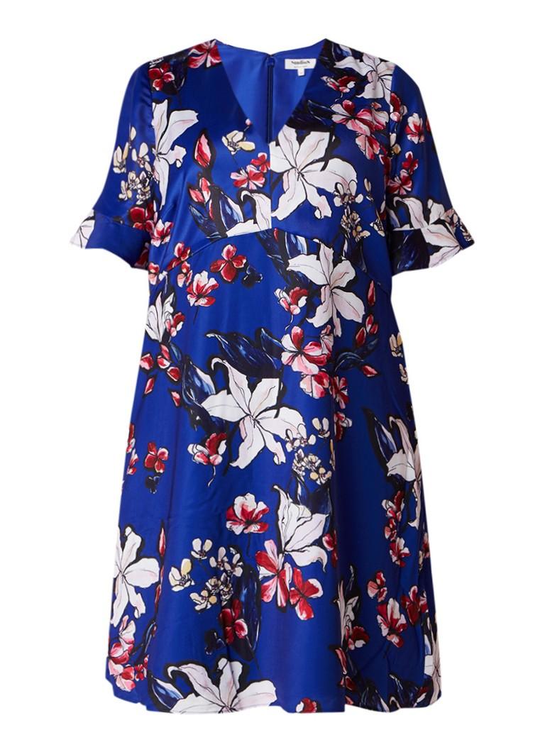 Studio 8 Priscilla A-lijn jurk met volantmouw en bloemendessin kobaltblauw
