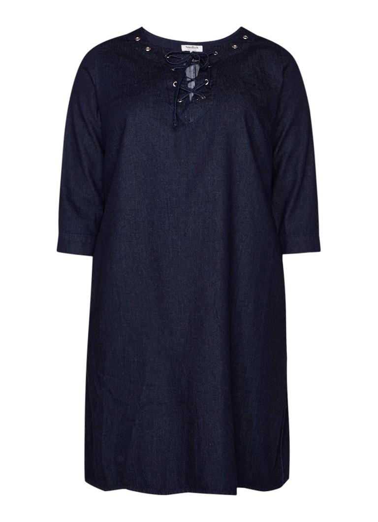 Studio 8 Mabel jurk van denim met rijgdetail indigo