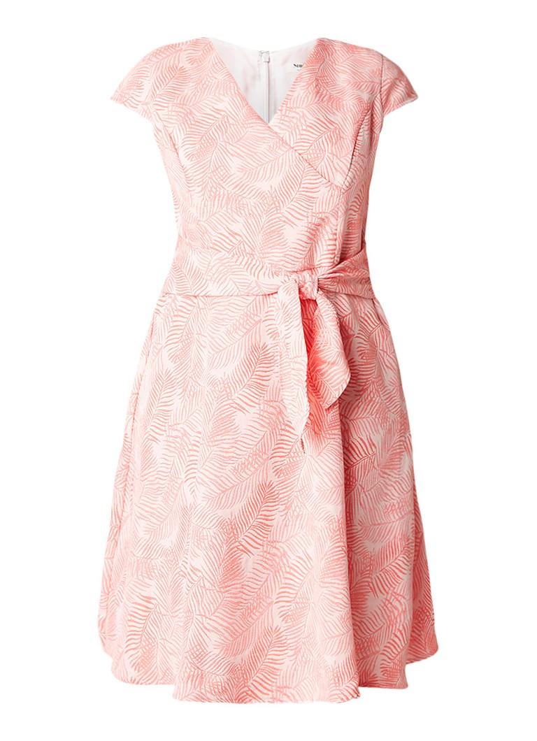Studio 8 Judy A-lijn jurk met jacquard dessin zalmroze
