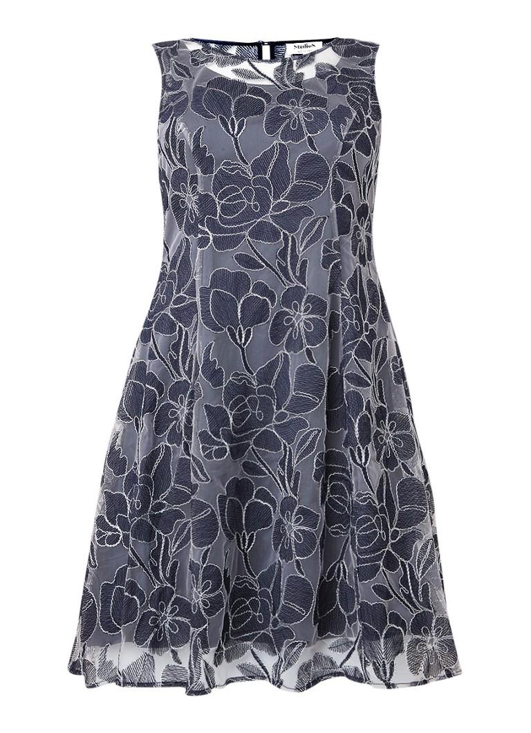 Studio 8 Nina A-lijn jurk met mesh en lurex donkerblauw