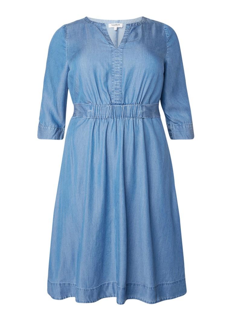 Studio 8 Mildred tuniekjurk van chambray met tailleband blauw
