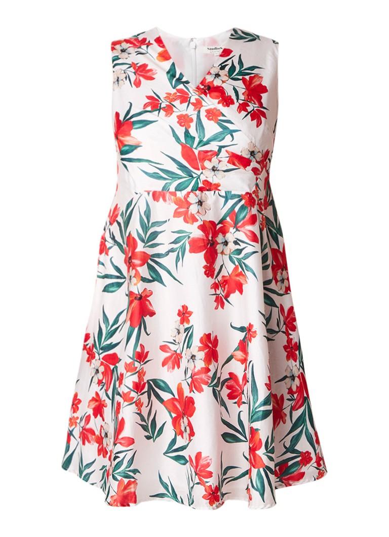 Studio 8 Ivanna A-lijn jurk met bloemendessin gebroken wit