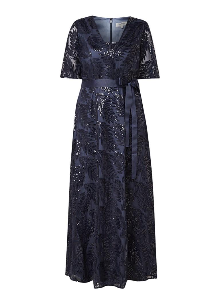Studio 8 Persephone maxi-jurk met pailletten en strikceintuur donkerblauw