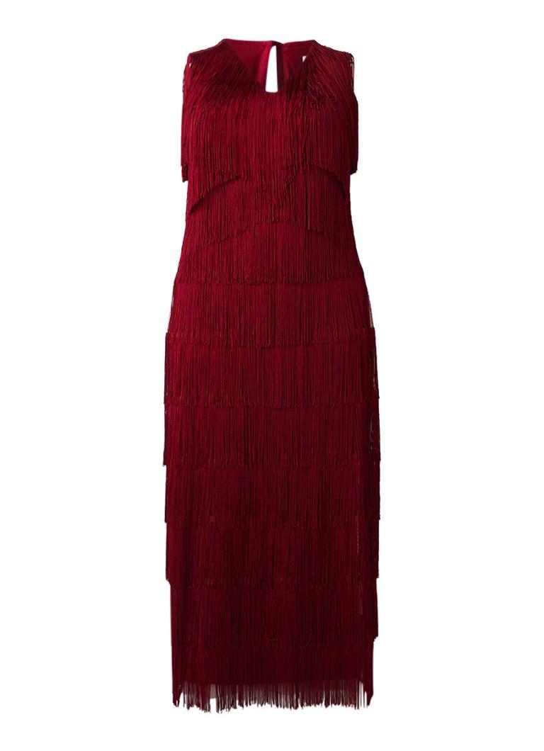 Studio 8 Esmerelda mouweloze maxi-jurk met fringe cranberryrood