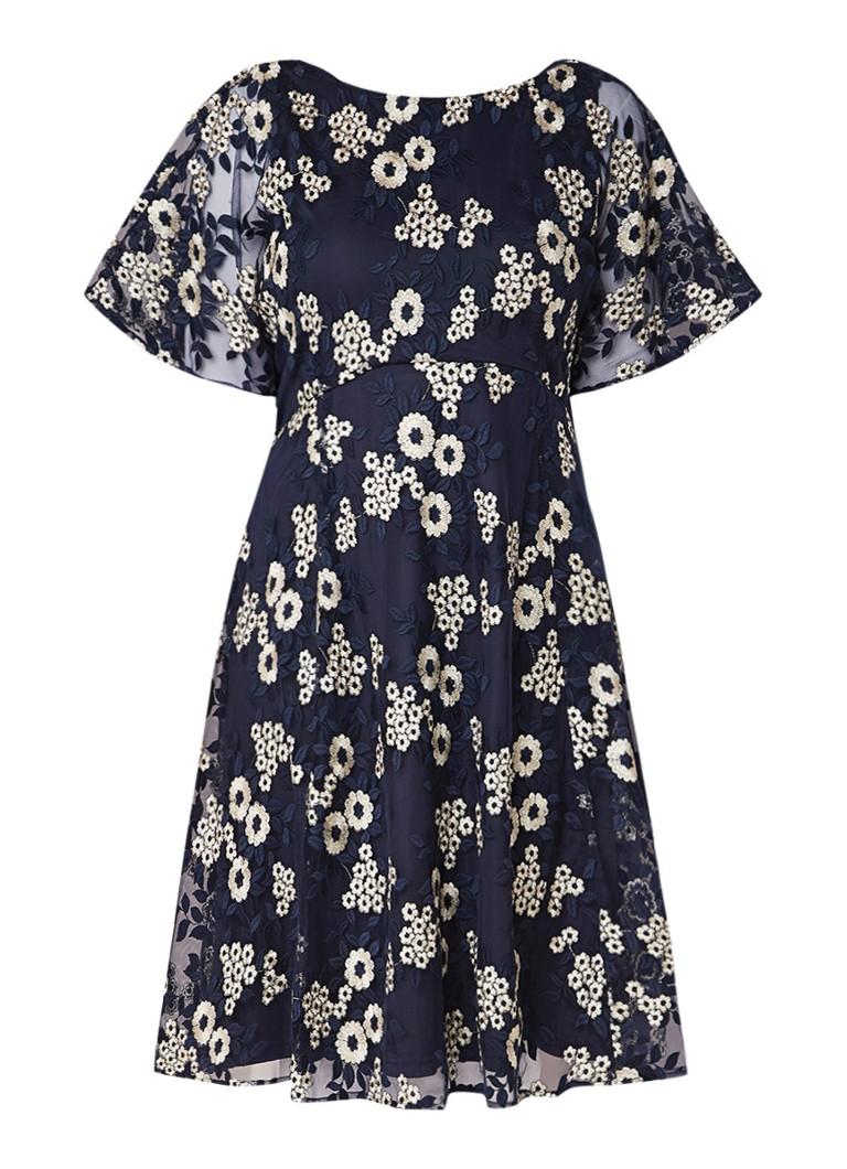 Studio 8 Shona A-lijn jurk met bloemenborduring van lurex donkerblauw