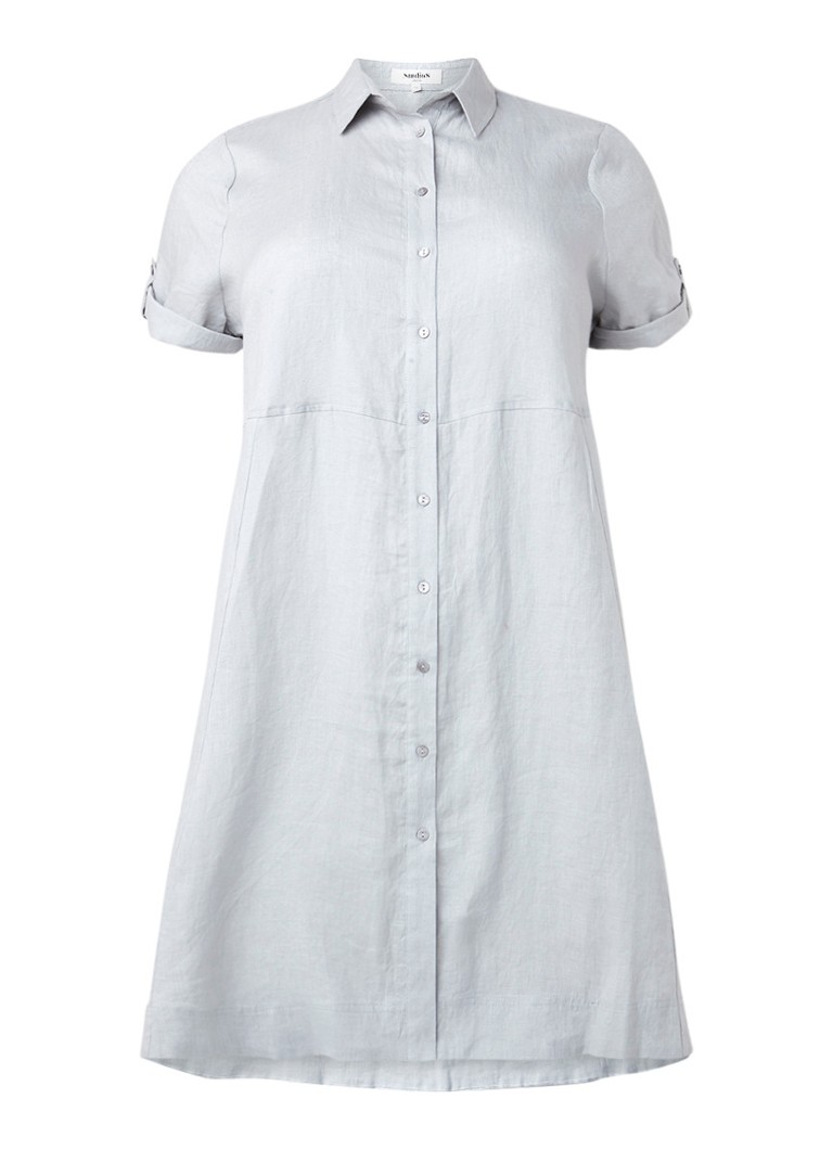 Studio 8 Sarah blousejurk van linnen lichtgrijs