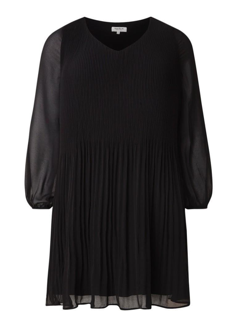 Studio 8 Fontaine midi-jurk met plissé en semi-transparante mouw zwart