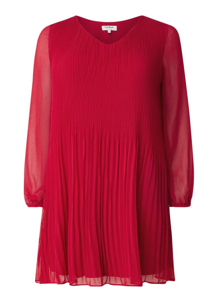 Studio 8 Fontaine midi-jurk met plissé en semi-transparante mouw rood